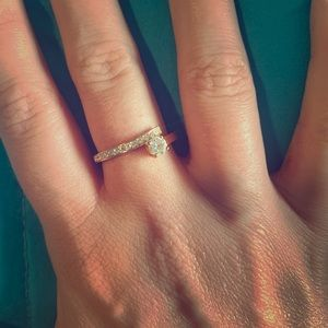 Swarovski ring with gold band